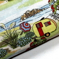 Small Coin Purse in Retro Caravan Fabric