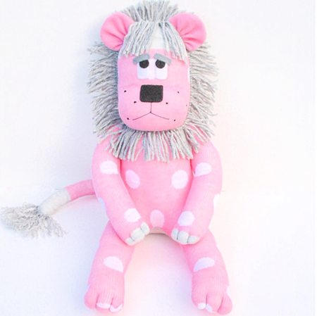 'Lola' the Sock Lion - pink with white spots - *READY TO POST*