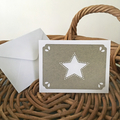 Note Card Italian Grey with White Star - Christmas or Teacher's Gift