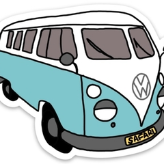 Blue VW Safari Bus Sticker