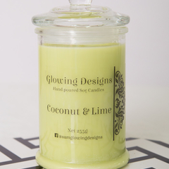 Coconut & Lime scented soy wax candle - Medium - Handmade in Australia
