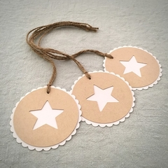 Set of 3 Gift Tags Natural with White Star - Christmas or Teacher's Gift