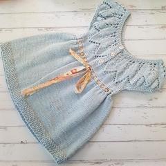 Little Dress - Size 2 - Hand Knitted - Bamboo/Merino