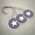 Set of 3 Gift Tags Grey-Blue with White Star - Christmas or Teacher's Gift