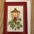 Xmas Lantern Card - Completed Cross Stitch