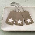 Set of 3 Gift Tags Italian Grey Paper White Stars Christmas or Teacher's Gift