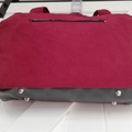 Burgundy Suede and Black Vinyl Overnight Bag