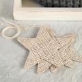 Set of 3 Whitewashed Hessian Stars - Decoration or Gift Tag