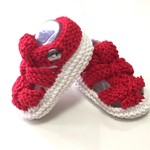 3 - 9 mths Baby Sandal Shoes, White / Red , Hand Knit