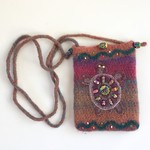 Colourful felt crossbody pouch. Colourful. Hand painted beads. Embroidery.