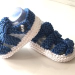 3 - 9 mths Baby Sandal Shoes, White / Dark Blue , Hand Knit