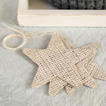Set of 3 Whitewashed Hessian Stars - Decoration or Gift Tag