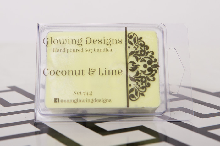 Coconut & Lime scented soy wax melt/tart - Handmade in