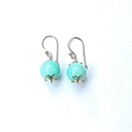Pale Aqua Blue Gemstone and Sterling Sliver Earrings