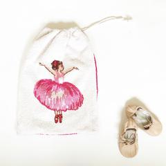 Ballerina drawstring ballet / dance  shoe bag - vintage fabric, FREE POST
