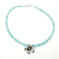 Pale Blue Chalcedony and Hill Tribe Silver Flower Necklace