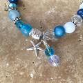 Blue and White Agate Gemstone Starfish Bracelet