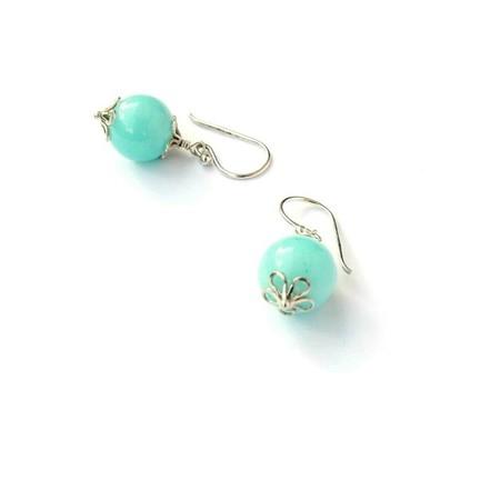 Pale Aqua Blue Gemstone and Sterling Sliver Earrings
