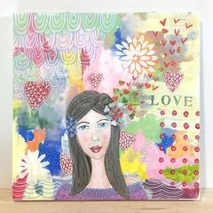 Original Mixed Media Painting on Wood Panel - Love Hearts 25.5 x 25.5 cms