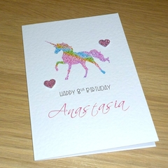 Personalised Rainbow Unicorn Birthday card