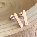 Rose Gold Earrings, Hand Stamped Earrings, Bar Earrings, Personalised Earrings