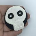 """""""Glitter Skull"""" Bold Polymer Clay Skull Halloween Brooch"""