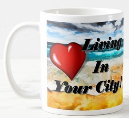 Love Living In (My Town) - BEACH - Personalise your favourite Town/Suburb Mug