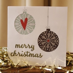 Baubles Christmas card - set of 5