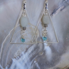 Aquamarine Gemstone Geometric Triangle Earrings