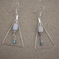 Aquamarine Gemstone Geometric Triangle Earrings