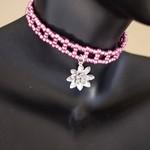 PINK NIRVANA Lotus Blossom Metallic Beaded Choker