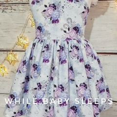 PREORDER - Floral Christmas Dress - Flutter Sleeve - Silver Tie -  Size 1 to 8