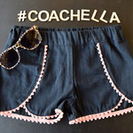Wrap Shorts with Mini Pompom - Peach pink - Size 6