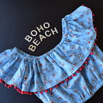 Ruffle Cropped - Flowers on Blue - Size 8