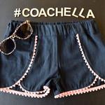Wrap Shorts with Mini Pompom - Peach Pink - Size 12
