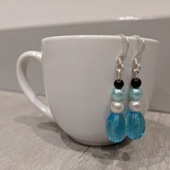 Earrings - aqua glass pearl