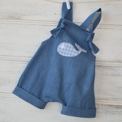 Soft denim harem romper with whale applique, summer romper