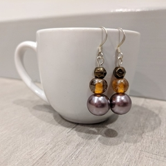 Earrings - bronze pearl