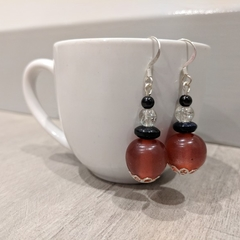 Earrings - dark red