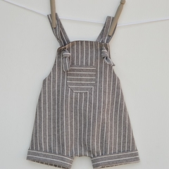 Brown linen harem rompers for summer, babies to toddlers