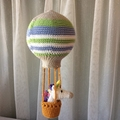 Crocheted hot air balloon mobile, unicorn in a basket, baby mobile, nursery deco