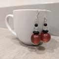Earrings - dark red