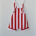 Red and white striped harem rompers, Sturdy drill fabric