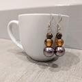 Earrings - bronze pearl