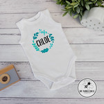 Adorable Baby Bodysuit, Perfect New Baby Gift. Wreath, personalised baby name