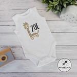 Giraffe Personalised Baby Bodysuit, great new born or baby shower gift.