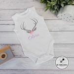 Boho Deer Antlers Personalised Baby Bodysuit. New Baby Gift