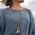 """""""Drift"""" beach inspired necklace- Tan and Stone."""