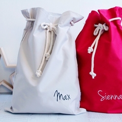 Personalised Santa Sack Natural with Calligraphy font