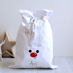 Personalised Santa Sack White with Reindeer face and Red nose